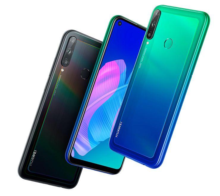 Huawei P40 lite E ja sen kaksi värivaihtoehtoa.