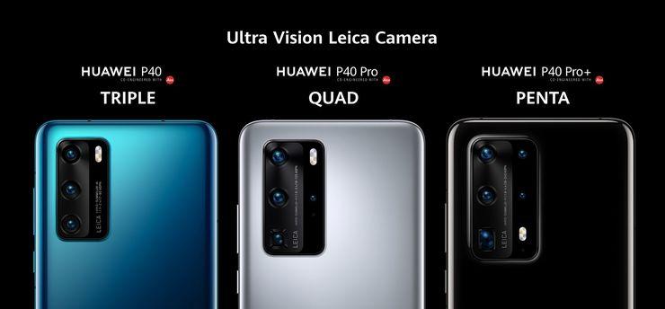 Kolme, neljä ja viisi takakameraa P40:ssä, P40 Prossa ja P40 Pro+:ssa.