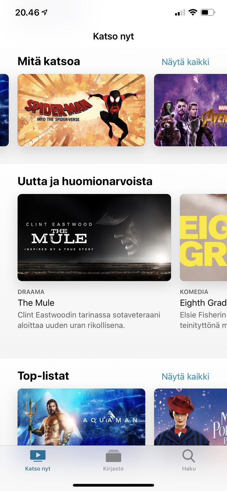 Apple TV -sovellus iOS 12.3:ssa.