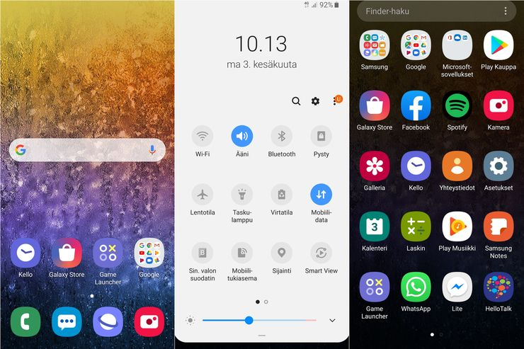 Samsungin One UI on yksinkertainen ja nopea käyttöliittymä.