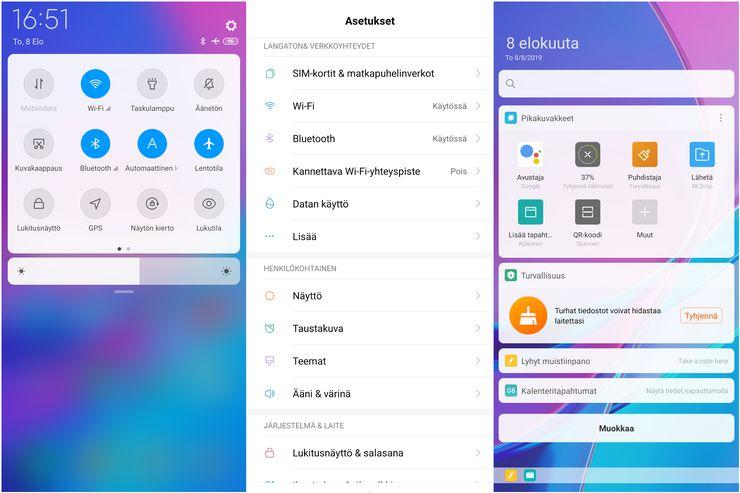 Xiaomi Mi 9T:n MIUI 10 muistuttaa hieman Applen iOS:ää.