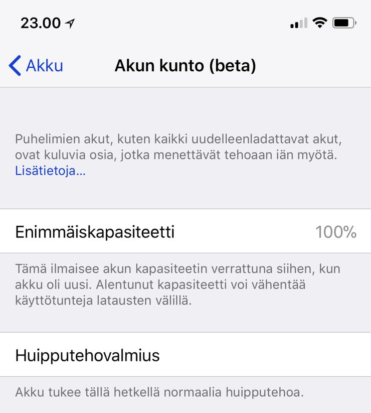 iOS 11.3 toi asetuksiin Akun kunto -osion.