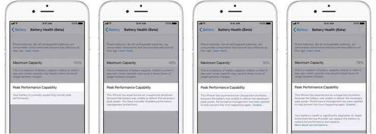 iOS 11.3 kertoo akun heikentymisestä.