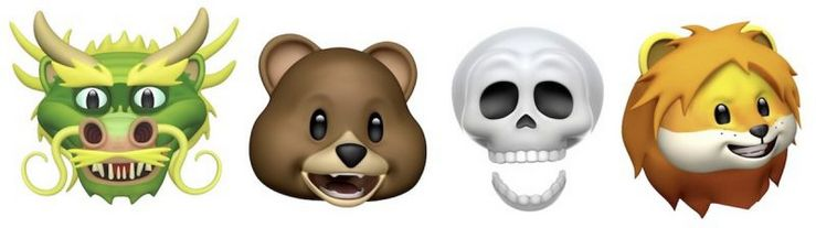 iOS 11.3:n neljä uutta Animojia.