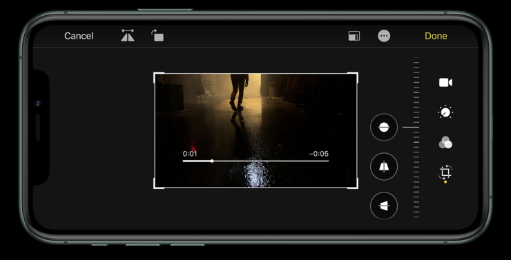 iOS 13 laajensi muokkaustoiminnot myös videoihin.