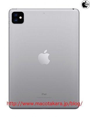 Macotakaran hahmotelema uudesta iPadista neliömäisellä kaksi kameraa sisältävällä kohoumalla.