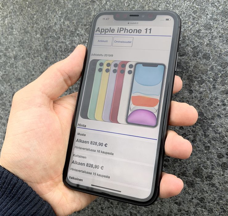 iPhone 11 on varustettu edelleen iPhone XR:n kanssa samanlaisella 6,1 tuuman LCD-näytöllä.