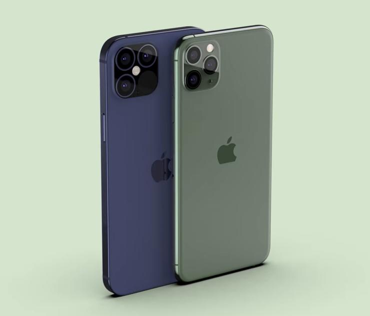 Etualalla iPhone 11 Pro Max ja taustalla seuraavan sukupolven mallin renderöinti.