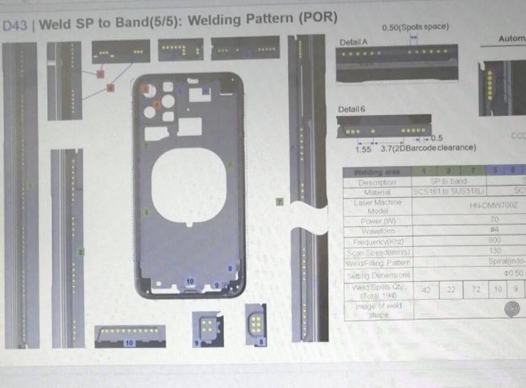 D43-koodinimellisen iPhonen kaaviokuva.