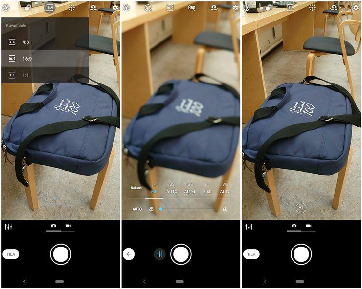 Kameran käyttöliittymä on tuttu aiemmista malleista.