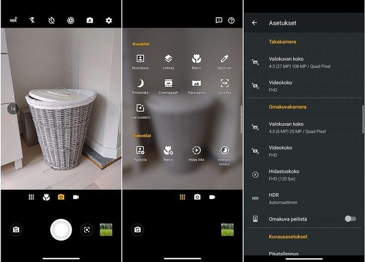 Kameran käyttöliittymä on tuttu muista Motorola-älypuhelimista.