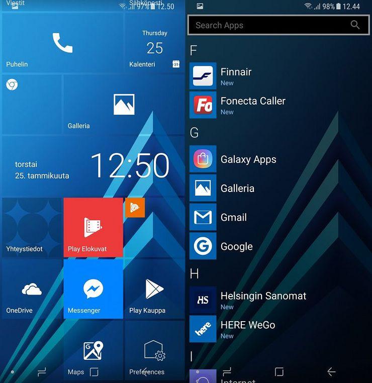 Tapahtumaruudut toimivat ja omia widgettejä voi alkunäkymään lisätä. Tässä esimerkkinä Samsungin puhelimien kellowidget tuotu Windows 10 -tyyliseksi.
