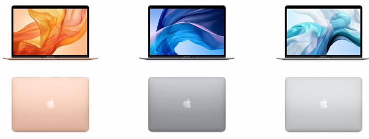 Uuden MacBook Airin värivaihtoehdot.