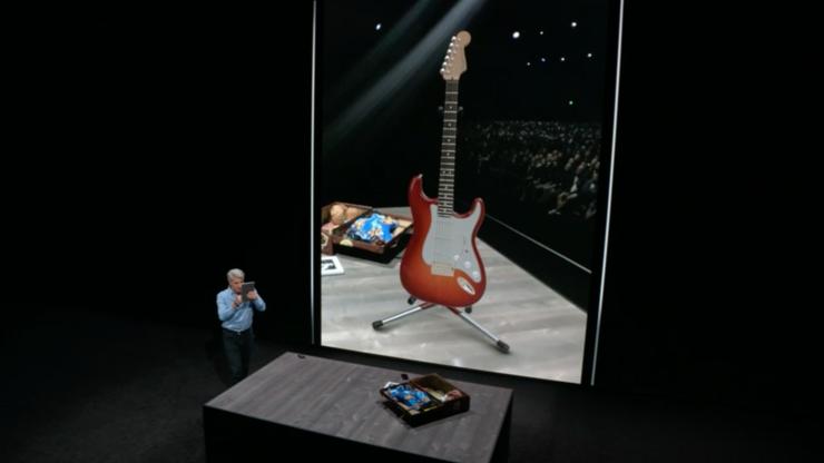 USDZ-formaatilla luotu 3D-malli kitarasta voidaan sijoittaa kameranäkymän kautta tosimaailmaan.