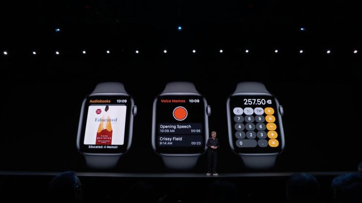 Applen uusia älykellosovelluksia – äänikirjoja, nauhurimuistio ja laskin.
