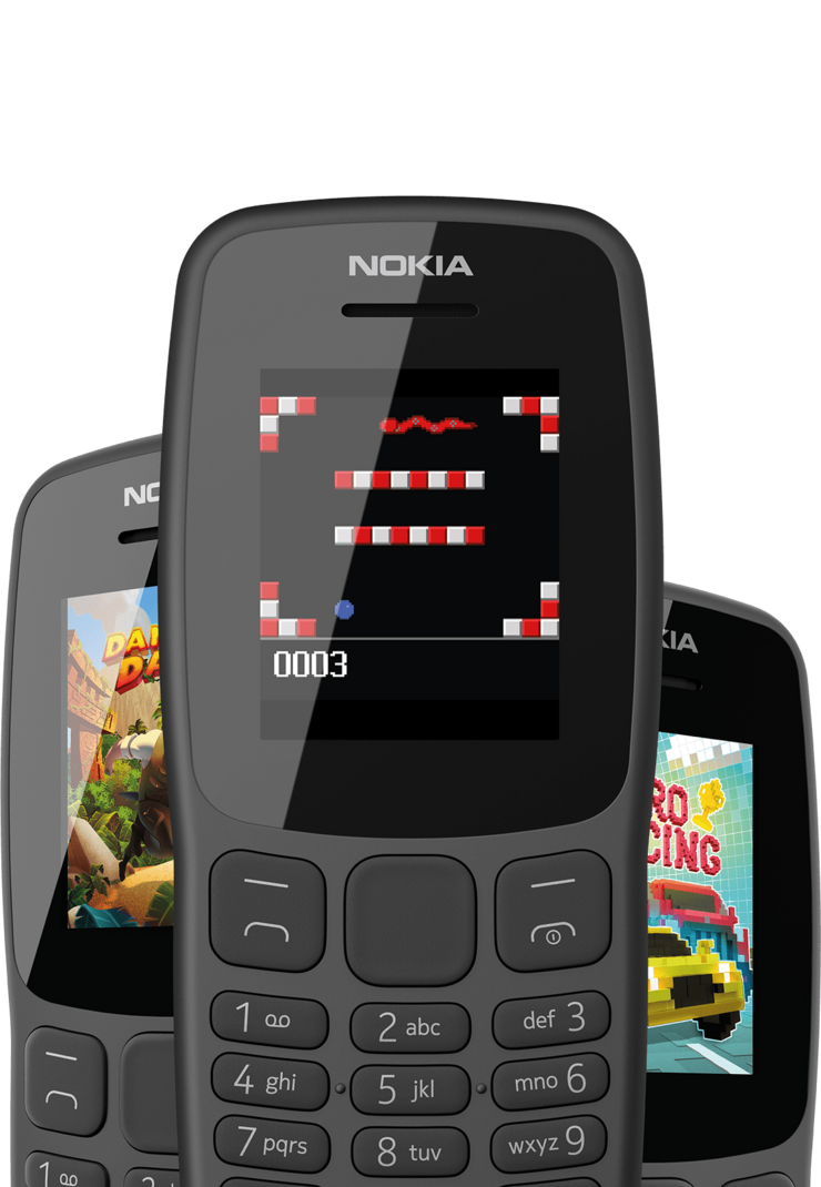 Pelejä Nokia 106:ssa.