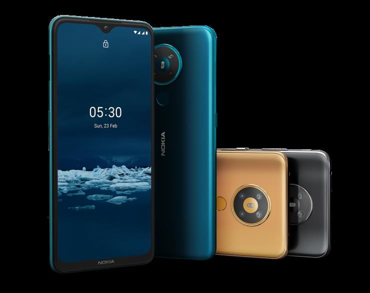 Nokia 5.3 eri väreissä.