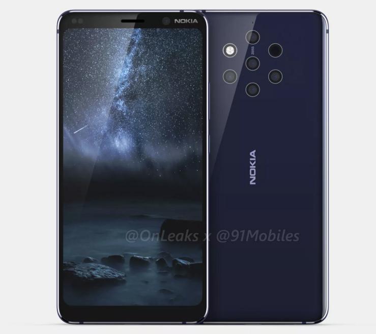 Nokia 9 PureView on varustettu viidellä takakameralla ja kookkaalla mutta lovettomalla näytöllä. Kuva: OnLeaks / 91mobiles.