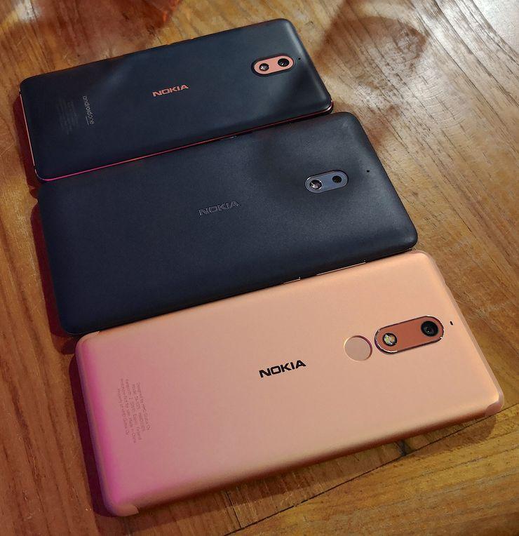 Alimpana kuvassa esillä oleva Nokia 5.1 on varustettu täydellä alumiinirakenteella. Ylimmässä Nokia 3.1.ssä on alumiinirunko, mutta takakuori on polykarbonaattia edeltäjän tavoin. Keskimmäinen Nokia 2.1 on polykarbonaattirakenteinen.