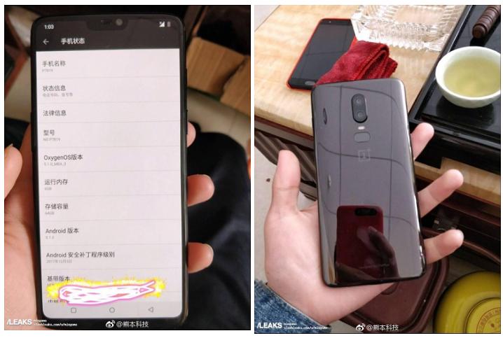 OnePlus 6 aiemmissa vuotokuvissa.