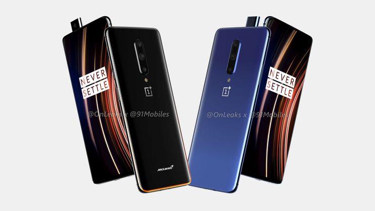 OnePlus 7T Pron design on säilymässä samanlaisena OnePlus 7 Pron kanssa. Puhelimesta on tulossa myös McLaren-erikoisversio. Kuva: OnLeaks / 91mobiles.