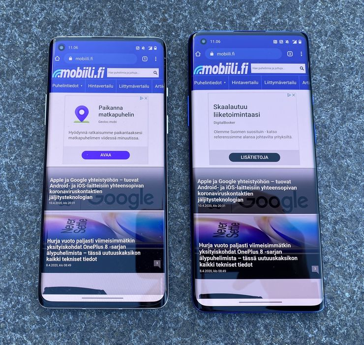 OnePlus 8 ja 6,55 tuuman näyttö vs. OnePlus 8 Pro ja 6,78 tuuman näyttö.