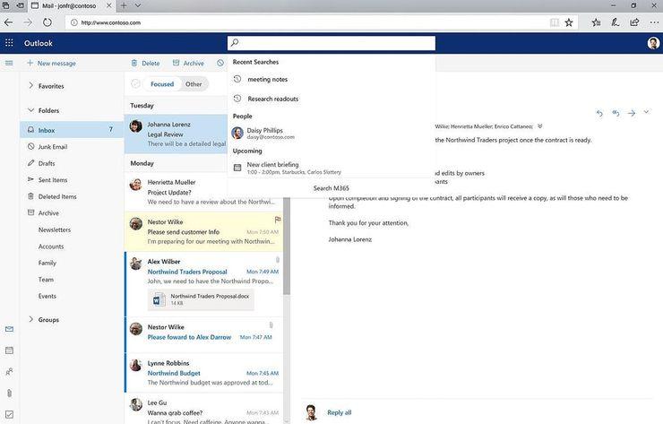Myös hakutoiminto päivittyy Officessa ja Outlookissa.