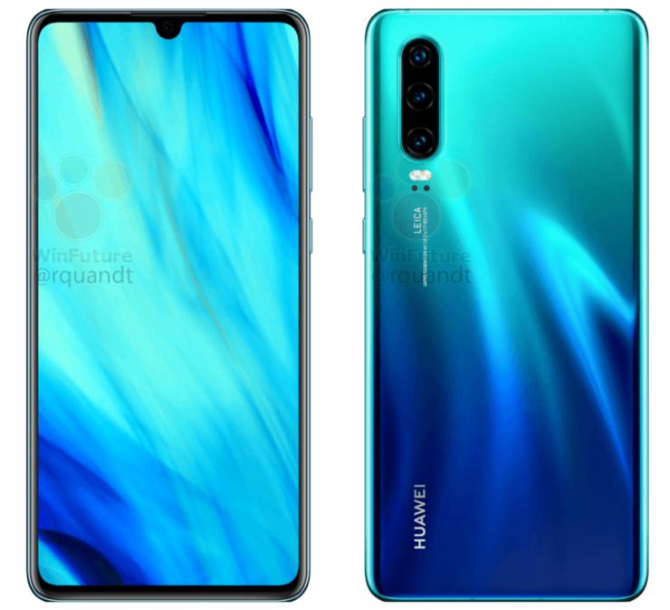 Huawei P30 virallisessa vuotaneessa WinFuture.den julkaisemassa kuvassa.