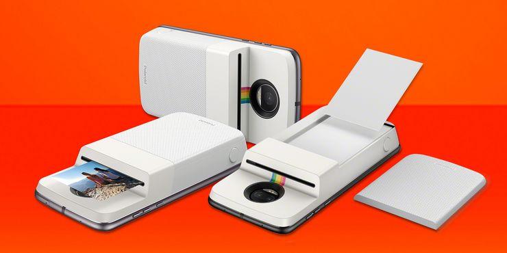 Kuvassa Motorolan polaroid-kamera Moto Z -sarjan puhelimille. Suomessa kamera tulee myyntiin tammikuussa 169 euron hintaan.