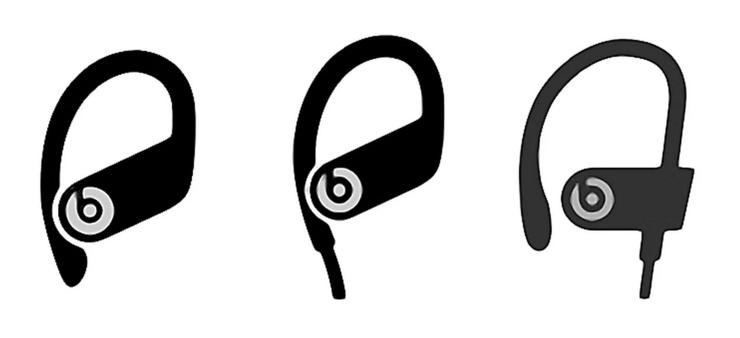 Keskellä mahdollinen uusi Powerbeats 4 -kuuloke. Vasemmalla Powerbeats Pro, oikealla Powerbeats 3. Kuva: MacRumors.