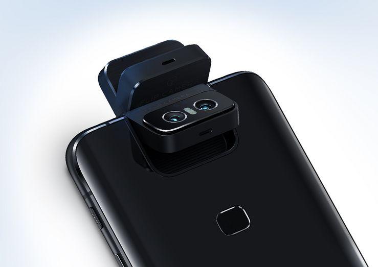 Motorisoitu, yläreunasta saranoitu kameramoduuli kääntää kamerat tarvittaessa takaa eteen. Näin sekä 48 megapikselin pääkamera että 13 megapikselin ultralaajakulmakamera ovat käytettävissä kumpaankin suuntaan.