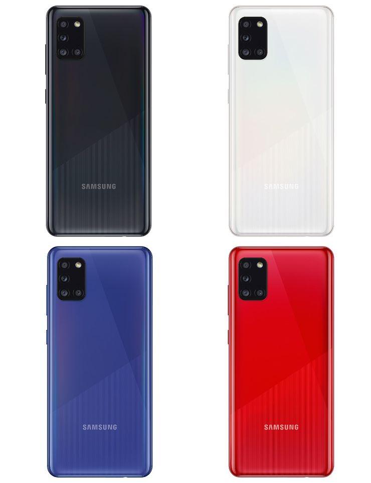 Samsung Galaxy A31:n värivaihtoehdot.