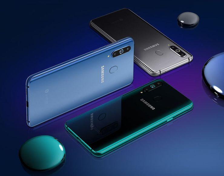 Galaxy A8s:n värivaihtoehdot.