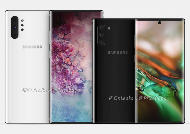 Samsung Galaxy Note10 Pro ja Galaxy Note10 OnLeaksin yhdessä Pricebaba-sivuston kanssa julkaisemassa mallinnoskuvassa.
