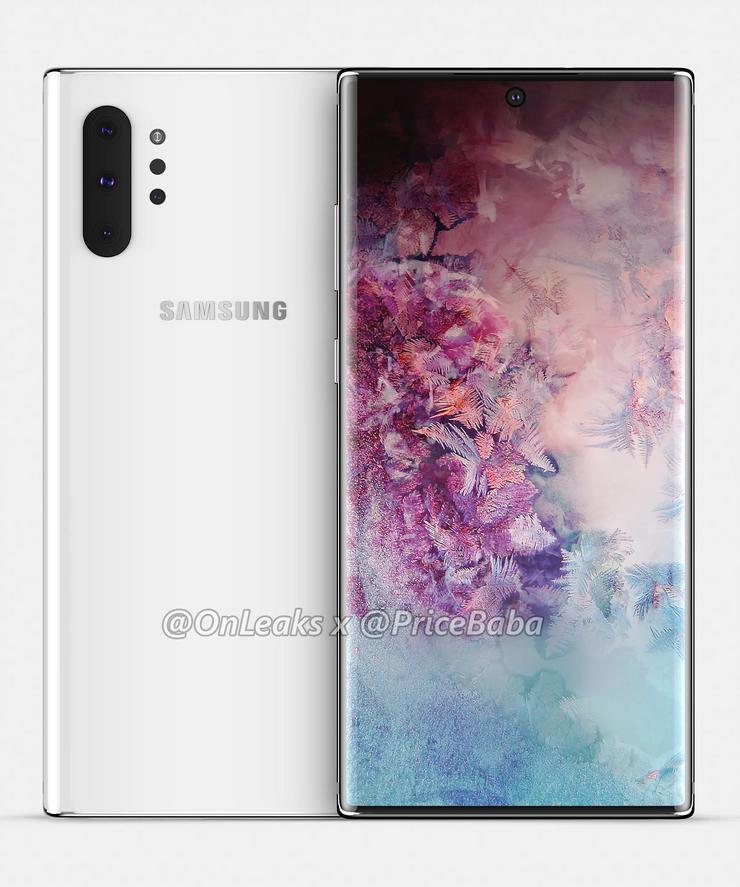Samsung Galaxy Note10 Pro OnLeaksin yhdessä Pricebaba-sivuston kanssa julkaisemassa mallinnoskuvassa.