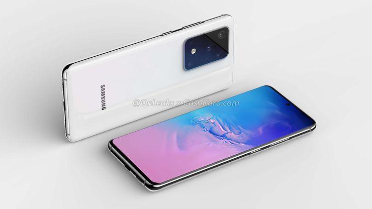 Samsung Galaxy S20 Ultran aiempi mallinnos. Kuva: OnLeaks / CashKaro.