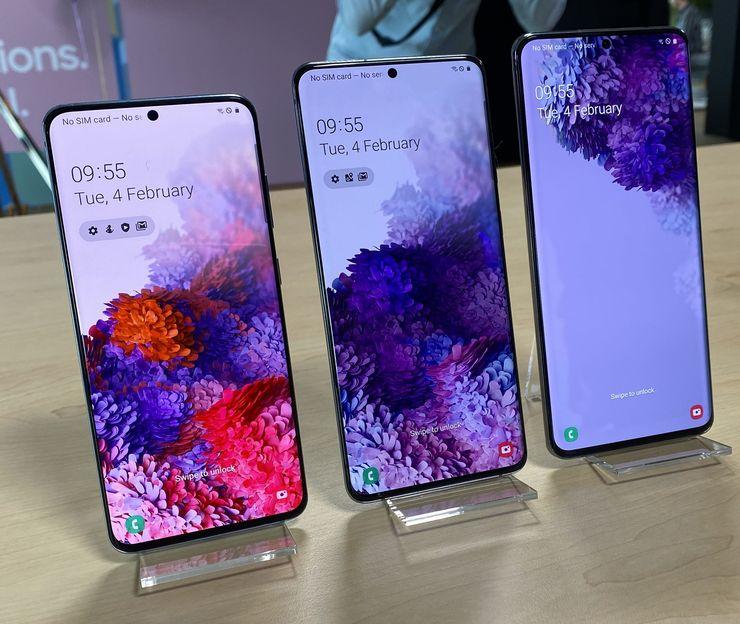 Samsung Galaxy S20, Galaxy S20+ ja Galaxy S20 Ultra.