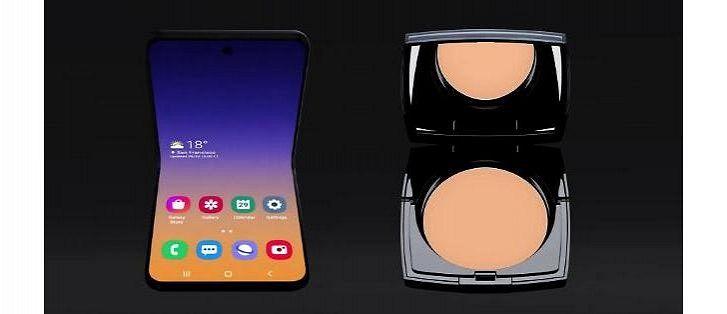 Samsungin simpukkapuhelimen konsepti vs. Lancomen puuterirasia. Kuva: SamMobile.