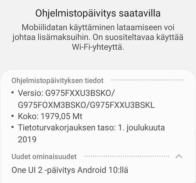 Android 10 ja One UI 2 ovat nyt ladattavissa Galaxy S10 -puhelimiin.