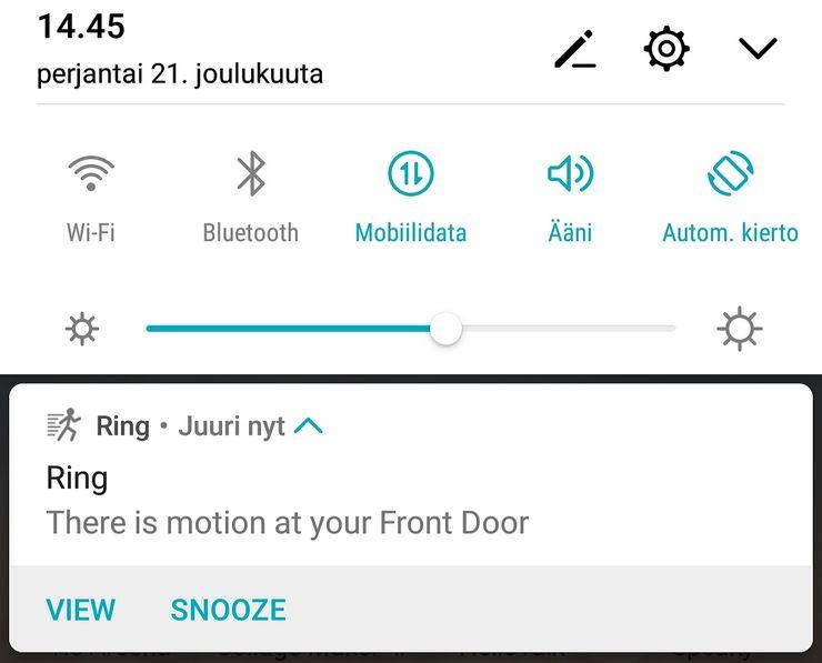 Liikettä havaitessaan Video Doorbell 2 lähettää käyttäjälle ilmoituksen.