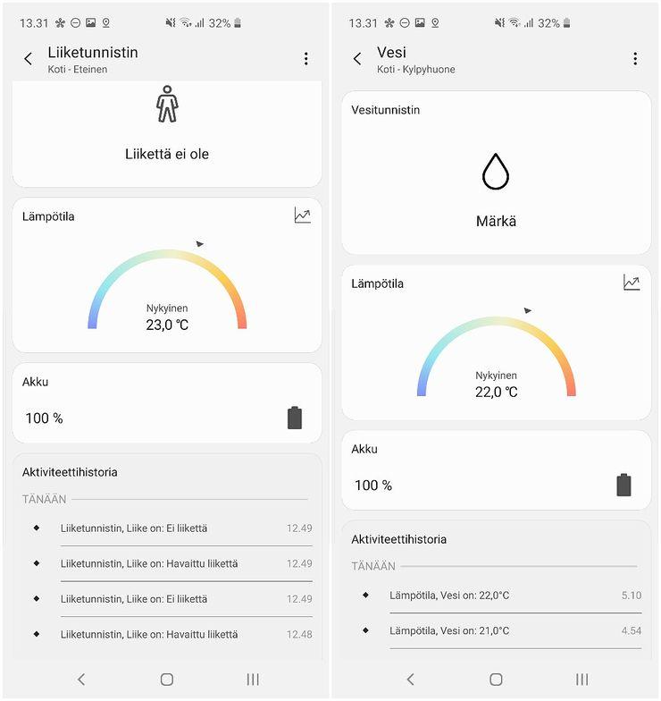 Liiketunnistimen ja vesivuototunnistimen tiedot SmartThings-sovelluksessa.