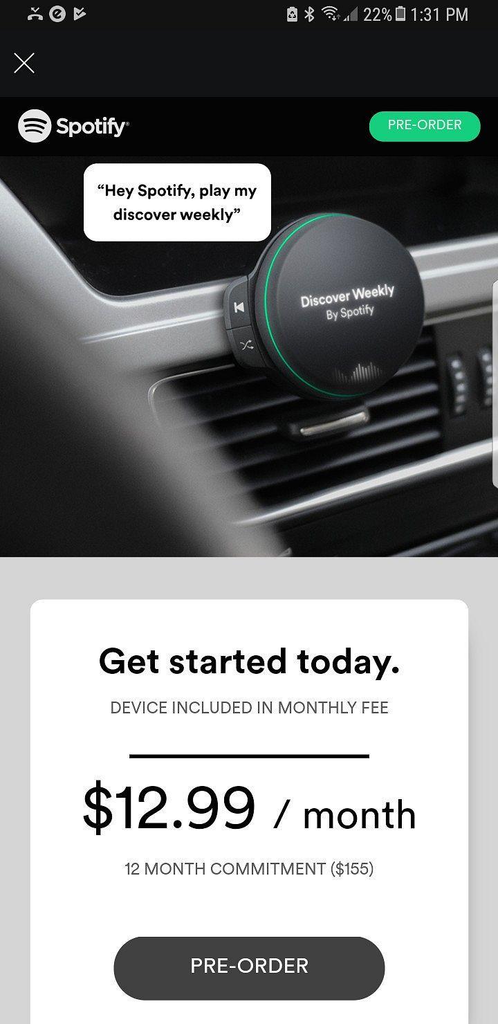 Spotifyn laite on paljastunut osalle käyttäjistä esitetyistä testimainoksista.