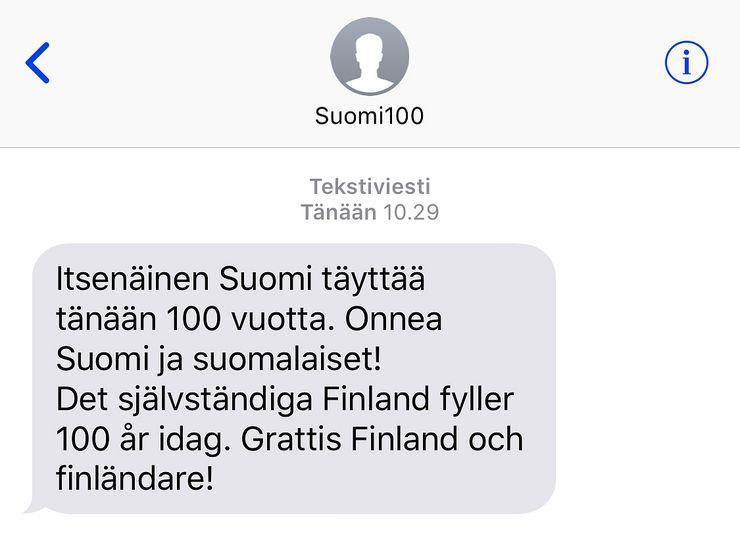 Tällainen Suomi 100 -onnitteluviesti oli.