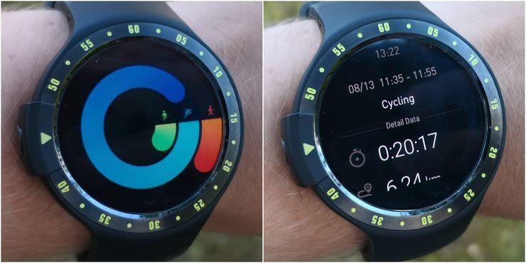 Vasemmalla Ticwatchin Health-sovelluksen aktiivisuustiedot kellossa, oikealla harjoituksen yhteenveto.