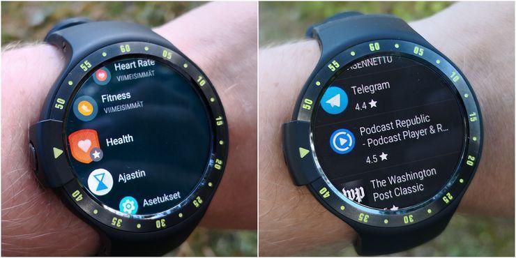 Wear OS:n sovellusvalikko vasemmalla ja oikealla Google Play, joka löytyy tätä nykyä sovelluskauppana suoraan itse kellosta.