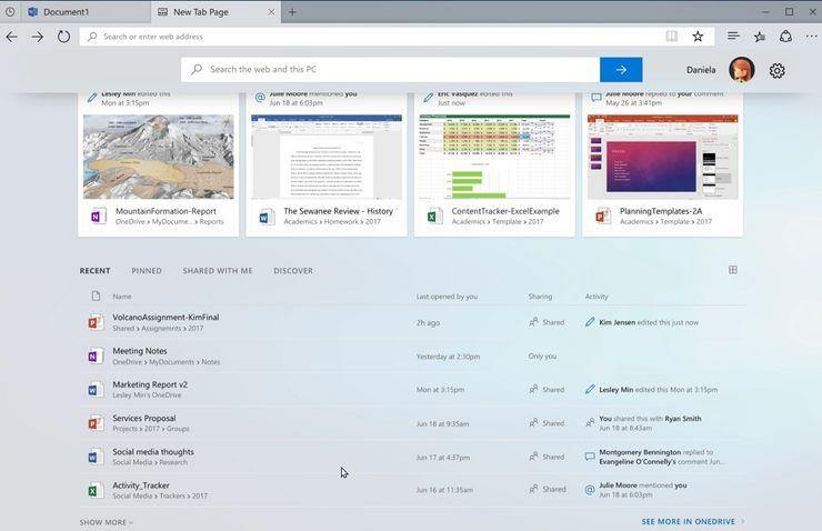 Päivityksen mukana julkaistava Windows Sets. Taustalla Word-välilehti ja kuvassa esillä uusi välilehti ehdotuksilla avattavista tiedostoista ja muista kohteista.