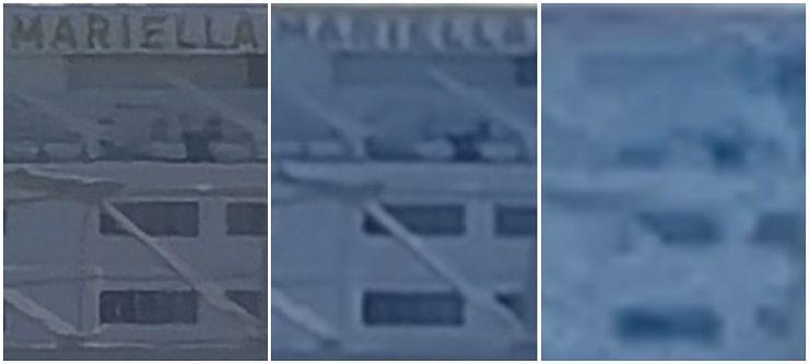 10x zoom -kuvista rajattu. Vasemmalta oikealle Huawei P40 Pro+, Huawei P30 Pro ja Apple iPhone 11 Pro Max.