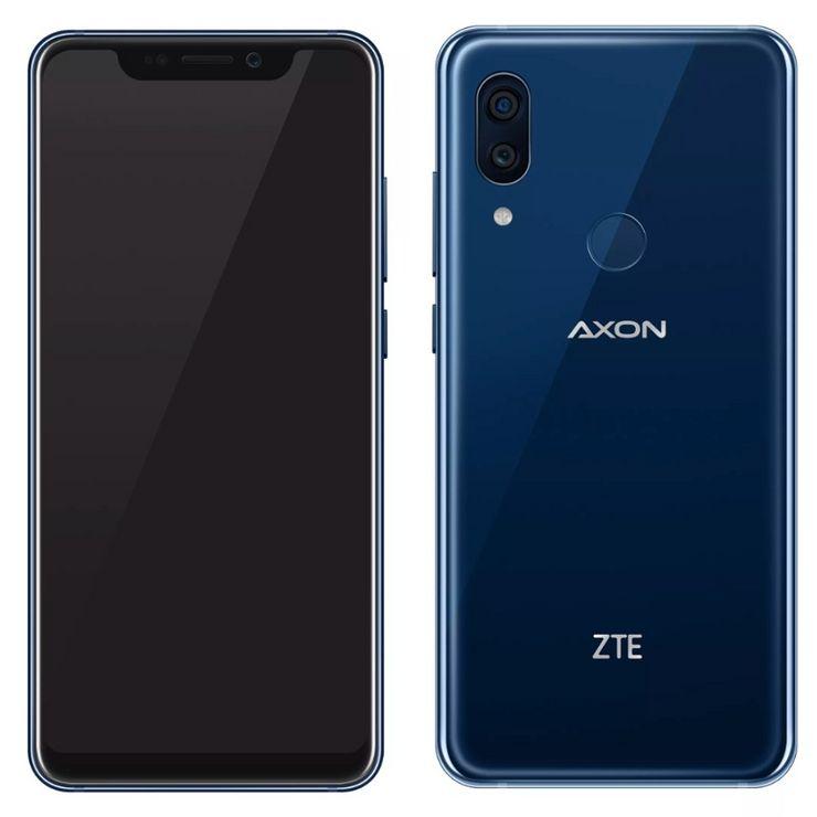ZTE Axon 9 Pro edestä ja takaa. Myös näytön alapuolella on hieman reunusta.