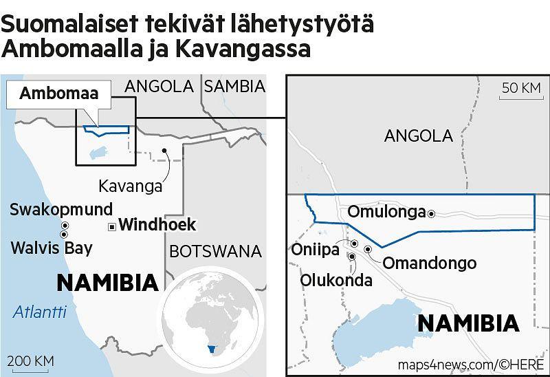 Suomalaiset rantautuivat Lounais-Afrikan rannikolle Walvis Bayhin vuonna 1869. Pohjois-Namibiaan Ambomaalle lähetystyöntekijät saapuivat heinäkuussa 1870.