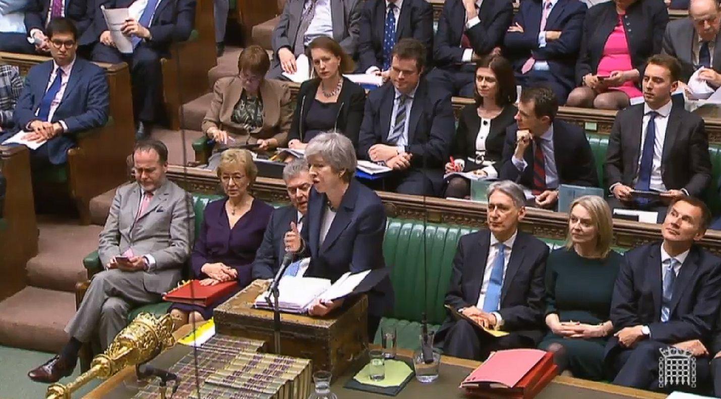 Pääministeri Theresa May puhui Britannian parlamentille keskiviikkona.